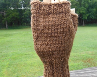 Adult Mens Fingerless Gloves. Coco Brown. L to XL