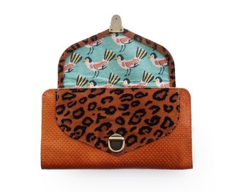 caramel brown  leather wallet with leopard print, birds wallet