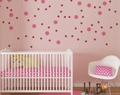 Pink Polka Dot Wall Decals - Peel and Stick Wall Decals - pick your size