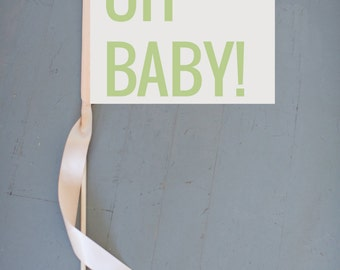 """New Baby Banner """"OH BABY!"""" Sign   Handcrafted Baby Announcement   Flag   Pregnancy Reveal Pregnant Facebook Instagram Modern Block 1214 SRB"""