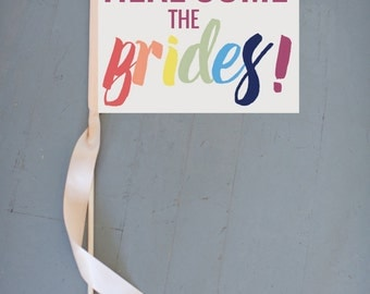 "Gay Wedding Sign ""Here Come The Brides"" {Gay Pride} Wedding Ceremony Banner Gay & Lesbian LGBT Commitment Ceremony Rainbow Font 1070 SRW"