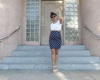 polka dot skirt - vintage 80s navy blue white nautical pencil tight bodycon pencil retro miniskirt high waisted pinup mod hipster xs small