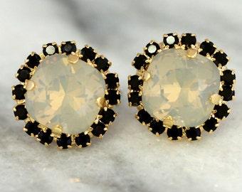 Gray Earrings,Gray Opal Stud Earrings,Swarovski Gray Earrings,Bridesmaids Gray Earrings,Bridal Gray Opal Earrings,Bridesmaids Earrings