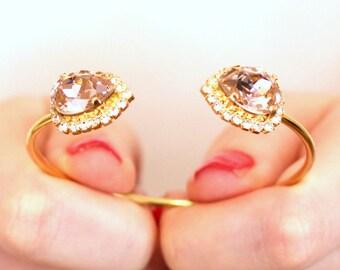 Blush Bracelet,Swarovski Bridal Blush bracelet,Bridal Blush Gold Bracelet,Bangle Gold Bridal Bracelet,Bridesmaids Gifts,Open Cuff Bracelet