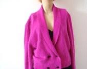 1980s Angora Sweater - fuzzy fuchsia cardigan - vintage retro fashion
