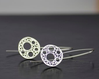 silver mitochondria sterling silver dangle earrings - modern, unique statement threader earrings - ready to ship - handmade in seattle