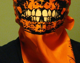 Bright ORANGE Skull Bandana half skeleton Face Mask With Glow In The Dark Teeth Grillz wrap scarf dust shielf neck warmer gaiter ski snow