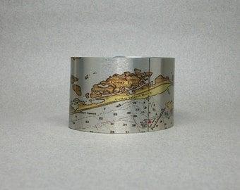 Robert Moses Gilgo Oak Beach Captree Fire Island Long Island Nautical Map Cuff Bracelet