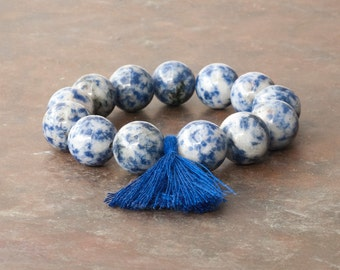 Sodalite Blue Bracelet, Mala Bracelet, Tassel Boho Bracelet, Stacking Bracelet, Yoga Jewelry, Meditation Bracelet, Gemstone Mala Bracelet