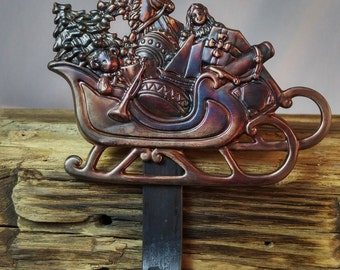 Sleigh Christmas Stocking Hanger,Holder-Forged Iron-Weighs 2 1/2 lbs.