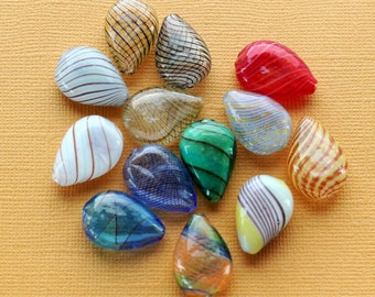 4 Glass Blown Beads Teardrop Assorted Color Glass -  BD844