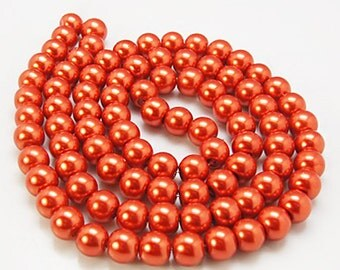 140 Glass Beads 6mm Faux Orange Pearl Strand - BD384