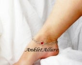 Lil Piece A My Heart Anklet Red Crystal Anklet Body Jewelry Diamond Link Silver Ankle Bracelet Silver Chain Anklet