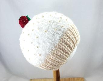 Vanilla Cupcake baby hat with strawberry