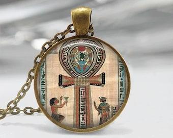 Cross Necklace Glass Tile Necklace Ankh Necklace  Egyptian Necklace Glass Tile Jewelry  Egytian Jewelry Cross Jewelry Black Necklace