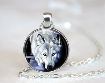 Glass Tile Necklace Wolf Necklace Black Jewelry Black Necklace Glass Tile Jewelry Animal Jewelry Wolf Jewelry Silver Necklace Silver Jewelry
