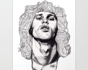 Jim Morrison - Original Drawing Art Illustration Paul Nelson-Esch Fashion Home Decor Pencil Modern Gallery 60s Rock Free Worlwide Shipping