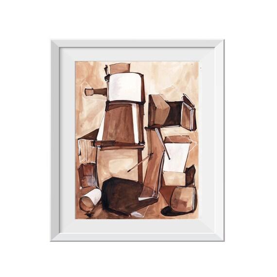 Medium ORIGINAL Painting, Black White Brown Tan Line Painting, Acrylic Ink Painting, Abstract Art, Abstract Line Painting, Abstract Factory
