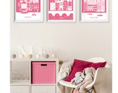 Pink London Paris New York Art Prints , Travel City Nursery Art , Kid's Wall Art , Dorm Living Room London New York Paris Wall Decor Art