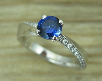 Sapphire  Engagement Ring,  Sapphire Ring, White Gold Diamond Ring With Lab Sapphire, Mobius Engagement Ring, Mobius Diamond Engagement Ring