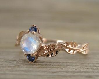 Moonstone Leaf Engagement Ring, Leaf Engagement Ring, Nature Engagement Ring, Leaves Ring,  Moonstone ring, Vintage Style Moonstone Ring