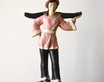 Mid Century Asian Figurine Chalkware Lamp