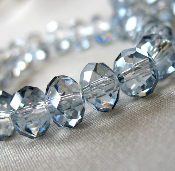 Light Gray and Light Montana Blue Faceted Crystal Rondell Beads, 8mm x 6mm, 8 inch strand, 36 pieces