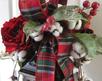 SALE- Christmas Lantern Swag, Cotton Boll Christmas Arrangement, Candleholder Swag, Versatile Floral Swag, Silk Christmas Ribbon, Gift