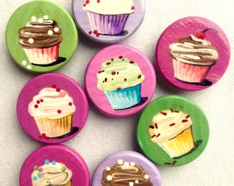8 CUPCAKE MAGNETS party favors hand painted