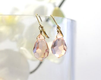 Faceted Light Rose Crystal Drop Earrings