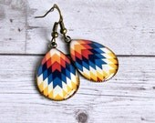 chevron resin drop earrings, antique brass, colorful, hippie, boho