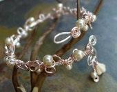 Wire Wrapped Pearl Bracelet,Adjustable Silver Pearl bracelet,Bridal/Bridesmaid Pearl Bracelet,Silver Bangle/Cuff Wrap bracelet,