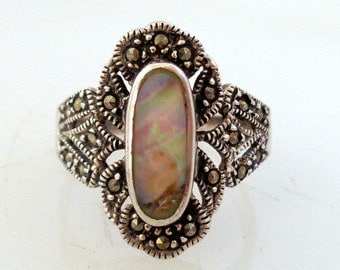 Vintage Sterling Marcasite and Abalone Ring 925 CW Size 8.5