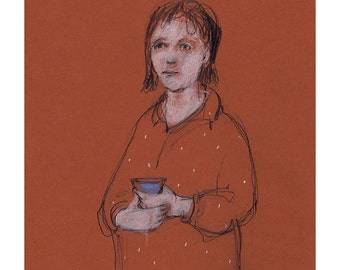 Woman morning coffee drawing original portrait illustration people figurative ooak