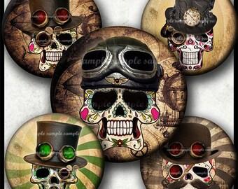 INSTANT DOWNLOAD Steampunk Sugar Skulls (781) 4x6 1 inch round Bottle Cap Images Printable Digital Collage Sheet glass tile  cabochon images