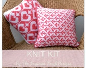 Knitting Kit for valentine hearts & cupid arrows cushion / throw pillow ,  knitting pattern , dk yarn ,  diy craft kit , valentines gift ,