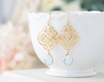 Powder Blue Gold Filigree Earrings, Baby Blue light Blue Glass Dangle Earrings, Something Blue Wedding Jewelry, Bohemian Boho Chic Earrings