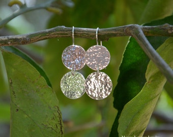 Dangle Earrings in Sterling Silver, Drop Earrings, Circles, Hammered Discs, Textured, Handmade