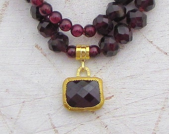 Garnet & Solid Gold Necklace - 24k Gold Necklace - Statement Garnet Necklace