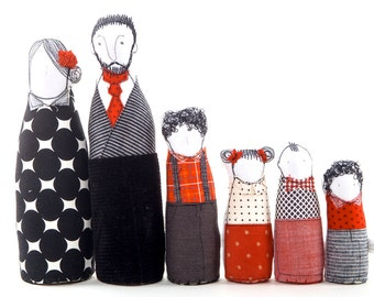 Family portrait dolls - Soft sculptur art dolls - Couple and 4 children in Geometric red & black fabric handmade eco dolls, Home Decor gift
