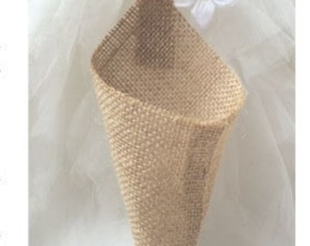 Burlap Pew Cones, 6 Burlap Chair Cones, Flower Cones Burlap Wedding Decorations Baby Shower Deocrations birthday decorations Party Supplies