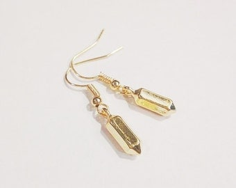 The Buffy Earrings | Gold Quartz Spike Earrings | Quartz Pendant Earrings | Gold Spike Earrings | Spike Earrings in Gold