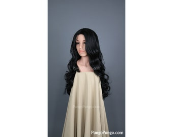 Black Wig / Long Curly Heat Safe Wig with Center Part / Wonder Woman Cosplay Anime Mermaid Costume Drag Queen Gothic Morticia Addams Witcher