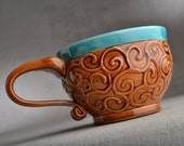 Curls Mug Ready To Ship Caribbean Blue And Brown Curls Soup / Cocoa Mug by Symmetrical Pottery