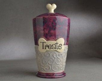 "Dog Treat Jar Ready To Ship ""Treats"" Purple and Gray Black Dog Treat Jar by Symmetrical Pottery"