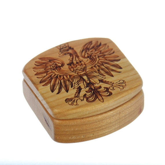 Polish Wooden Box, Solid Cherry, Pattern MS59 Polish Eagle, Paul Szewc, Masterpiece Laser