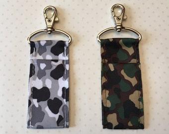 Camouflage Ribbon Chapstick Holder- Grey or Green Camouflage Lip Balm Holder