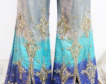 PANTS 60's Vintage Gypsy GODDESS Bohemian BEJEWELED Bell Pants Embellished // Vintage Pants by TatiTati Style on Etsy