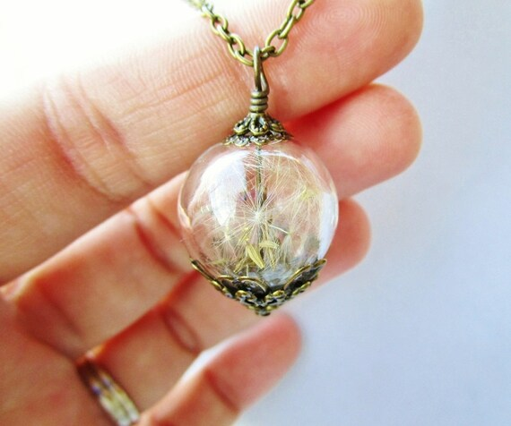 Dandelion Seed Glass Orb Terrarium Necklace in Bronze or Silver, Small Blown Glass Orb, Bridesmaids Gifts
