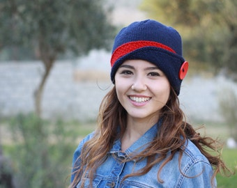 Hats women, Knitted hat beanie, Wool hat, Navy blue and red, Knit,